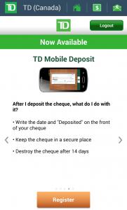 TD Mobile Deposit