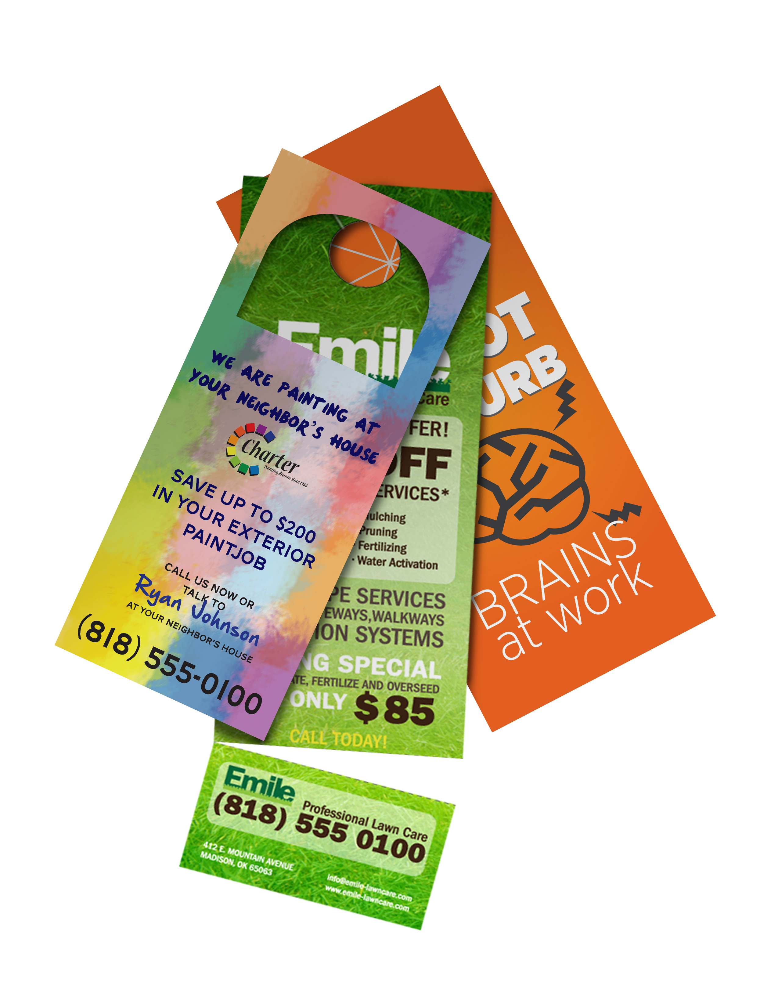 "Door Hangers - 8.5"" x 3.5"" 14PT Matte 1.25"" Hole & Slit"