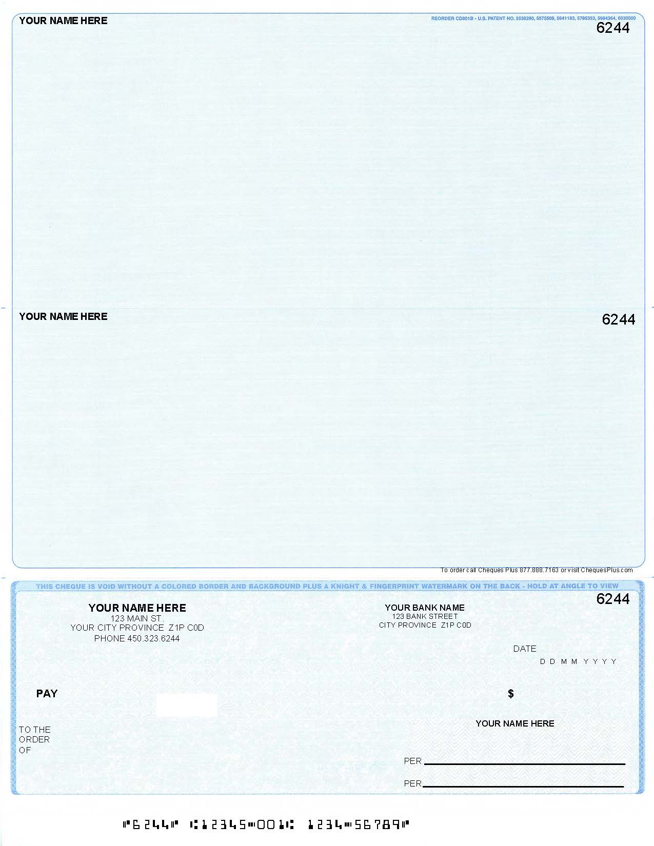 Computer Cheque On Bottom