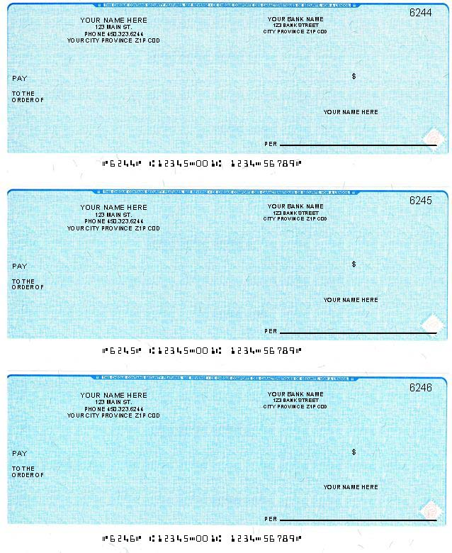 Three per page cheques