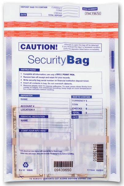 "9 x 12"" Single Pocket Deposit Bags, Clear, Pre-Numbered - Qty. 100"