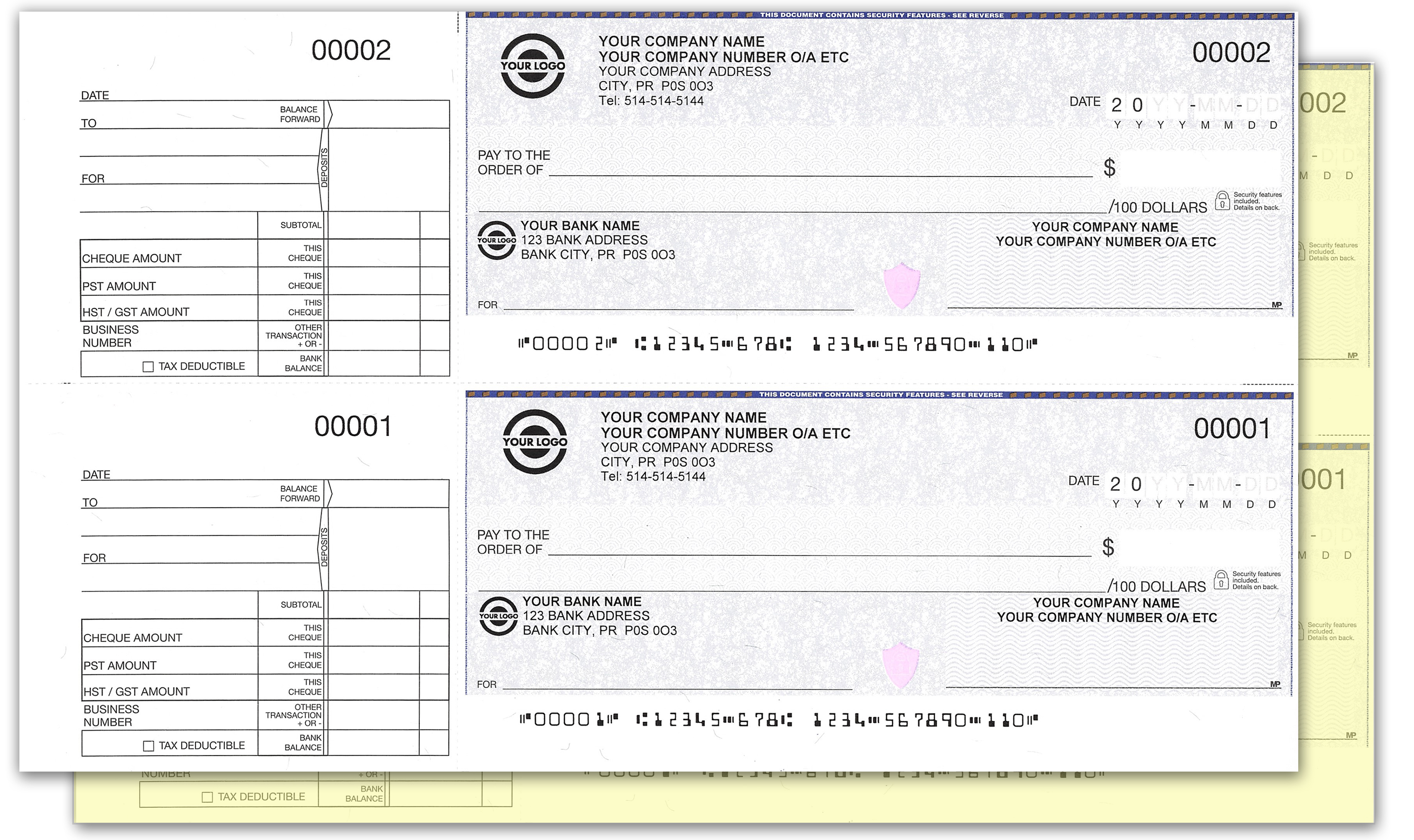 2 (carbon) Copy High Security Manual Cheques