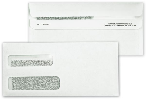 Double Window Confidential Self Seal Envelopes #10 For Invoices, Statements Etc.