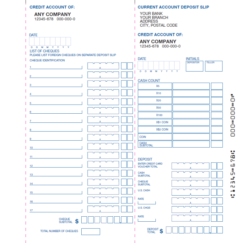 The gallery for check stub template for Checking deposit slip template