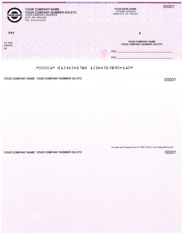 Laser Cheques / Computer Cheques on top