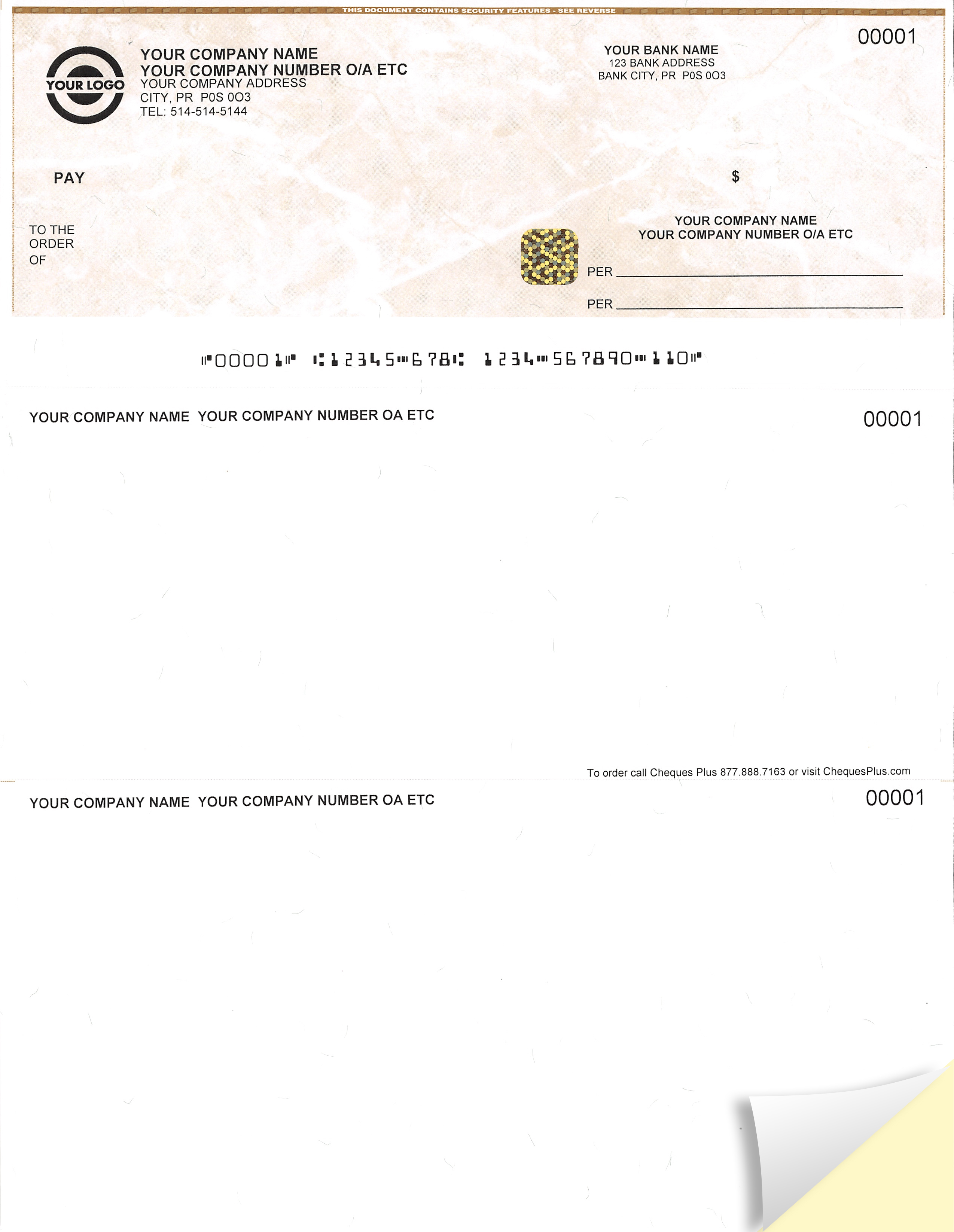 2 Part Premium High Security Foil Hologram Cheque - 2 Copies